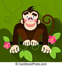 Cute cartoon baby monkey hanging on tree