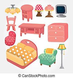 cute cartoon furniture icon set