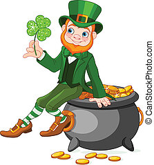 Leprechaun sitting on pot of gold