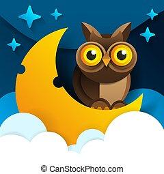 Cute cartoon owl sits on the slumbering crescent moon
