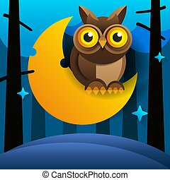 Cute Cartoon Owl Sits On The Slumbering Crescent Moon In The Night Sky With Stars