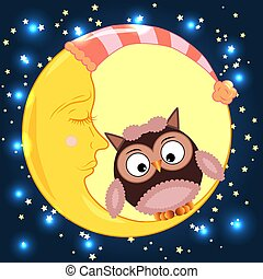 Cute cartoon owl sitting on a round dormant crescent moon in the night sky with stars