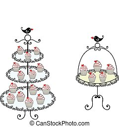 cupcakes on tray, vector
