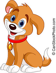 Illustration of cute puppy, wearing a red collar with gold tag.