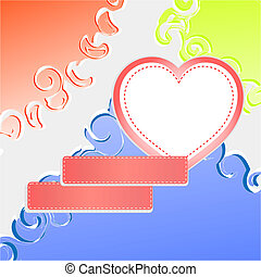 Cute doodle romantic abstract background with heart