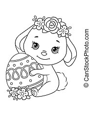 Easter Bunny with egg Coloring Page