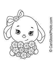 Easter Bunny with flower bouquet coloring page