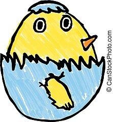 Cute Easter Chick Childs Drawing
