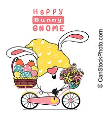 Cute easter Gnome bunny ears cartoon on pink sweet floral bicycle with easter egg basket. Happy Easter, Cute doodle cartoon vector spring Easter clip art