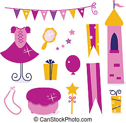 Cute elements for Little Princess Party isolated on white
