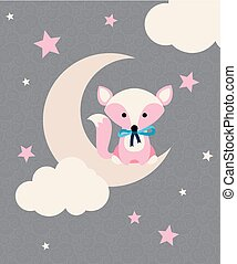 Cute fox with tie sitting on the crescent in front of stars and clouds. Vector illustration