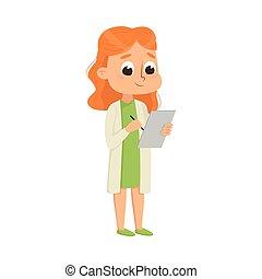 Cute Girl in Laboratory Coat Attending Chemistry Lesson Vector Illustration