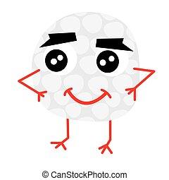 Cute Golf Ball Cartoon Character.