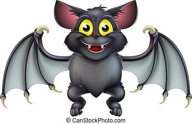 An illustration of a cute happy cartoon Halloween bat character