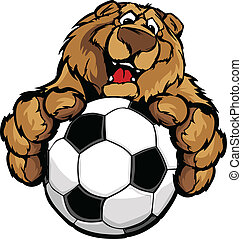 Cute Happy Bear Mascot with Soccer