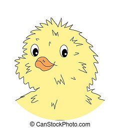 Cute happy little yellow chick