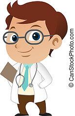 Cute little male doctor