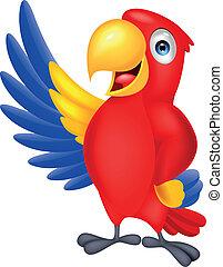 Vector illustration of cute macaw bird waving