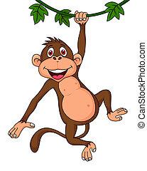 Vector illustration of cute monkey cartoon hanging