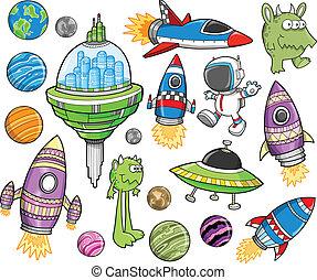 Cute Outer Space Vector Design Elements Set