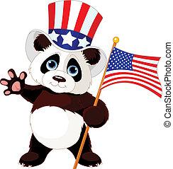 Panda Holding American Flag