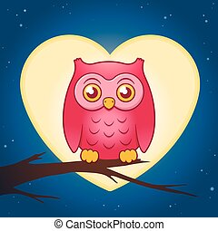Cute pink owl perched on a branch