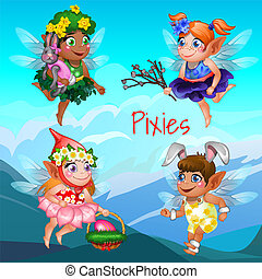 Cute poster with the little flying pixies with mountains in the background. Easter symbols the egg in the basket, the willow twig and the rabbit. Vector cartoon close-up illustration.