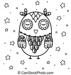 Cute sleeping owl coloring page. Black and white print with funny animal