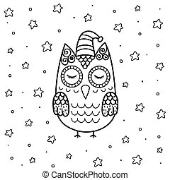 Cute sleeping owl in zentangle style coloring page for kids