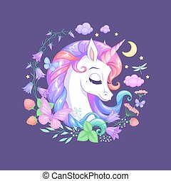 Cute sleeping unicorn surrounded with flowers and butterflies. Isolated vector illustration.