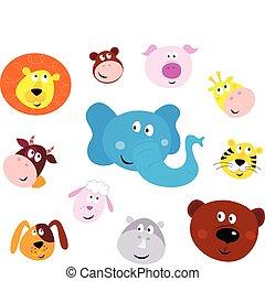 Cute smiling animal head icons