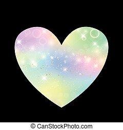 Cute universe heart icon in princess colors.