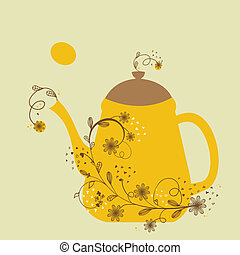 Cute vintage card with teapot and floral branch