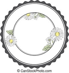 Daisy Flower Round Frame With Copyspace