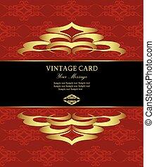 Damask gold floral vintage card