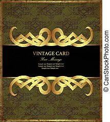 Damask green with gold vintage card