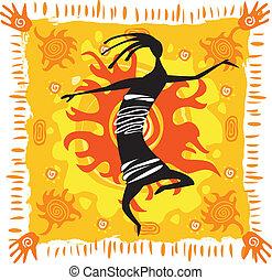 Dancing figure on an orange background