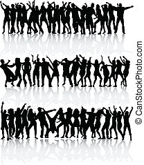 Dancing silhouettes people - large collection