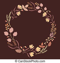 Dark Autumn Floral Frame Collection. Cute set with retro flowers arranged in a shape of wreath perfect for wedding invitations and birthday cards