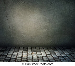 Dark background with a stone floor