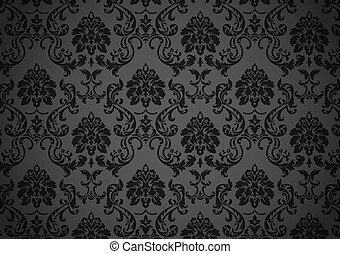 Dark baroque wallpaper, black and grey on revival style