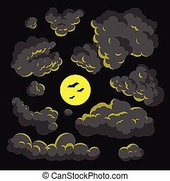 Dark cloud cartoon style vector illustration background