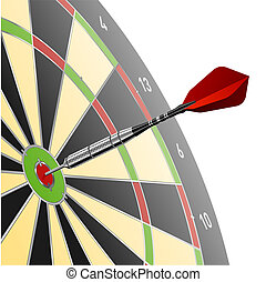 Vector illustration of a dart in red target