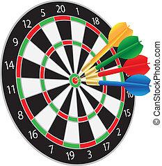 Dartboard with Darts Hitting on Target Bullseye Illustration Isolated on White Background