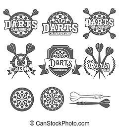 Set of vintage darts labels, logotypes, badges and vintage elements.