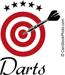 Darts sporting emblem with dartboard and stars isolated on white background, suitable for sport, leisure or logo design