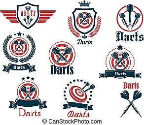 Darts sporting icons and emblems with arrows, target, ribbons, wreaths and decorations
