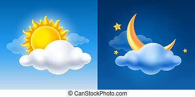 Day And Night Sky With Sun, Half Moon And Cloud
