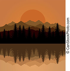 Sunset on mountain lake. A vector illustration