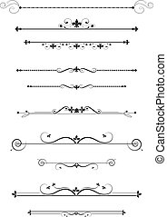 Decorative dividers and accents set, vector illustration